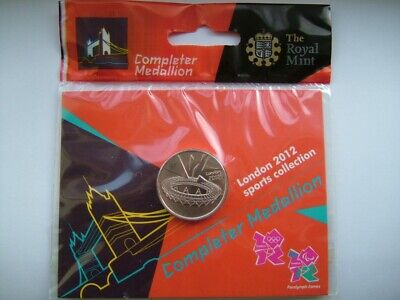 Rare 2012 London Olympics 50P Coin Completer Medallion New Sealed In Bag