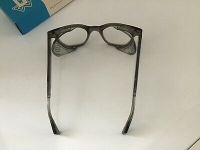 Vintage Bouton Retro Safety Eye Glasses W/ Side Guards Clear Lens New in Box.