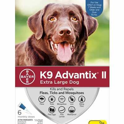 K9 Advantix II for Extra Large Dog Over 55 lbs - 6 Pack, NEW, Free shipping