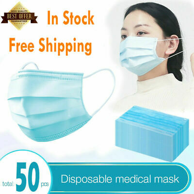 50pcs Disposable Face Mask Surgical Medical Dental Industrial 3-Ply Ear Loop