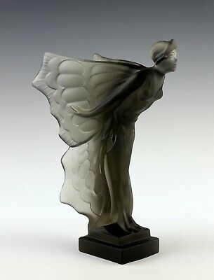 French Art Deco Smoke Glass Nude Lady Figurine Hood Ornament 1930' H.Hoffmann