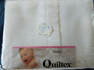 Quiltex Vintage Acrylic Baby Blanket White Satin Trim Boy Girl 52X36 Geese NOS