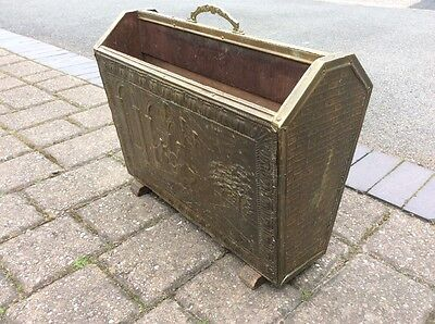 Antique Embossed Brass Double Sided Magazine News Paper Rack