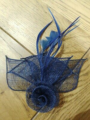 Navy blue fascinator/ corsage sinamay material with feathers