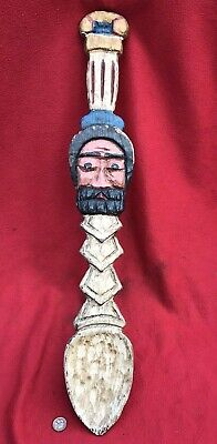 German Black Forest Carved Pine Wood Decorative Spoon, Figural Man Face Painted