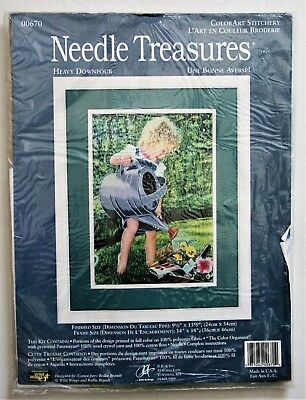 Needle Treasures #00670 Heavy Downpour Color Art Stitchery Girl Watering Flowers