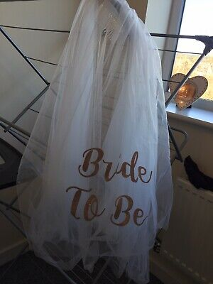 Bride To Be Rose Gold Glitter Veil