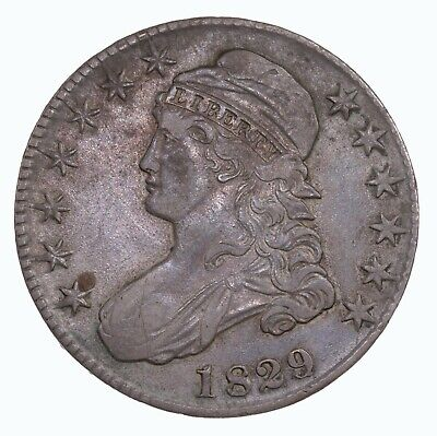 Raw 1829 Capped Bust 50C Uncertified Ungraded US Mint Silver Half Dollar Coin