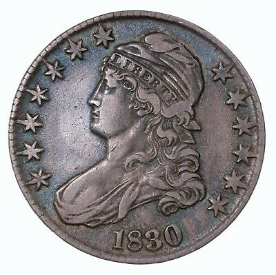 Raw 1830 Capped Bust 50C Uncertified US Mint Silver Half Dollar Coin