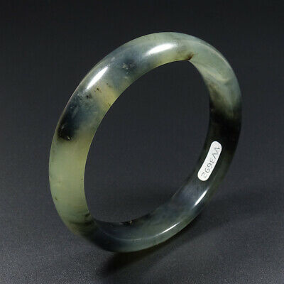 59mm Chinese 100% Natural Grade A Black Green Icy Xiu Jade Bracelet Bangle V3692