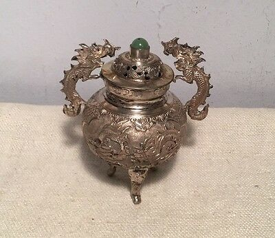 Antique Chinese Sterling Silver & Jade Bead Dragon Handle Incense Burner