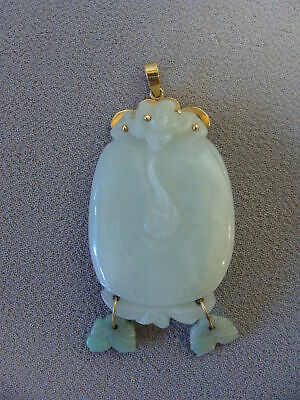 Antique 18k Gold & Carved Chinese Jade Fruit  Necklace Pendant