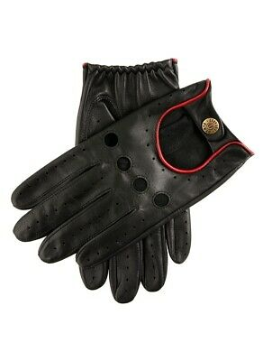 DENTS Men's Delta Classic Leather Driving Gloves - Black/Berry