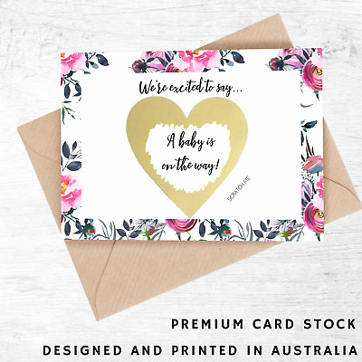 Pregnancy Announcement Card, Scratch to Reveal, Gold Heart, Baby on the Way Card