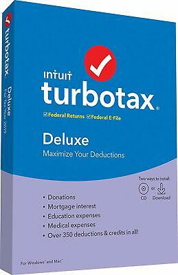 TurboTax Deluxe 2019.Federal Returns. Federal E-File only.