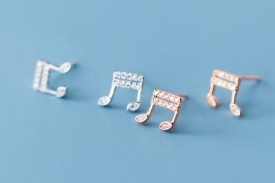 925 Sterling Silver Women Jewelry Musical Notes CZ Stud Earrings A1390