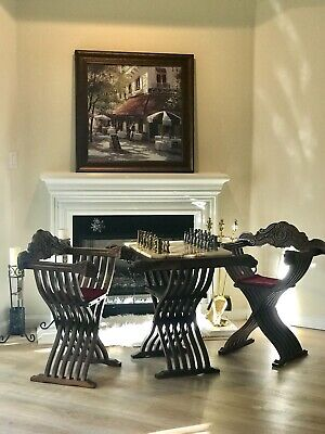 Mid Century Italian Chess Set Savonarola Table and Chairs and Marble Chess Board