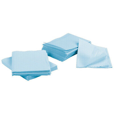 500 Blue Disposable 3-Ply Dental Bibs Medical Tattoo Tray Chair Bed Paper Covers