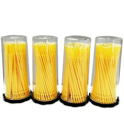 400 (4 Kegs) Dental Micro Applicator Eyeliner Bond Brushes (Fine Tips) (Yellow)