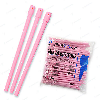 1000 (10 Bags) Pink Dental Saliva Ejectors Ejector Disposable Suction Tips
