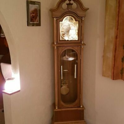 Oak Grandfather Clock Vintage Retro Longcase Solid Wood Case Art Deco Furniture
