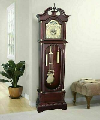 Colonial Grandfather Clock Vintage Design Tall Longcase Solid Wood Case Art Deco
