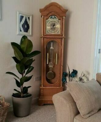 Oak Grandfather Clock Vintage Retro Longcase Solid Wood Case Atnqiue Furniture