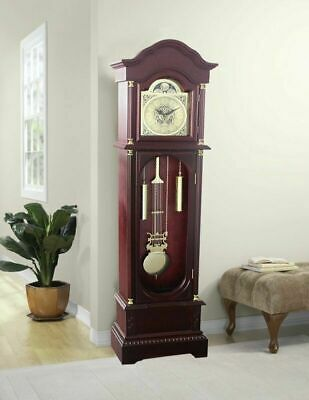 Longcase Grandfather Clock Vintage Solid Wood Floor Free Standing Grand Father