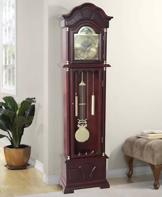 Colonial Grandfather Clock Vintage Retro Longcase Solid Wood Case Room Furniture