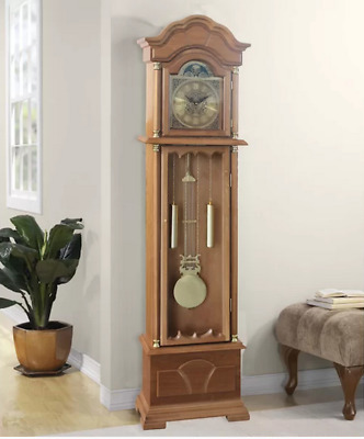 Grandfather Clock Vintage Retro Floor Free Standing Long Case Solid Wood Case