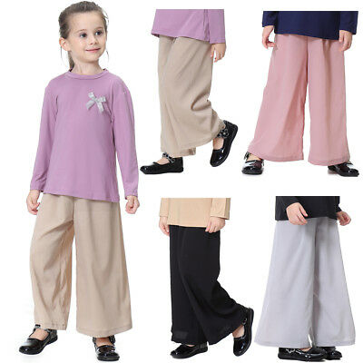 Kids Girls High Waisted Palazzo Wide Leg Trouser Linen Blend Summer Spring Pants