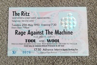 Rage Against The Machine Concert Ticket The Ritz Manchester May 1993