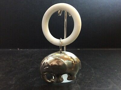 Vintage EPNS Silver Plated Elephant Baby Rattle Teething Ring