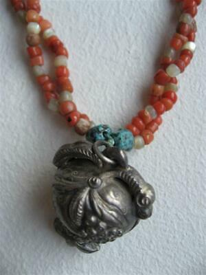 Antique Chinese Silver Coral Turquoise Bead Qing Necklace Pendant