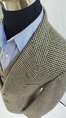 Vintage Banana Republic Houndstooth Blazer USA Made 38R Olive Moss Green Beige