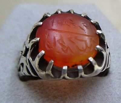 Personal Seal  Stone Antique Islamic Agate Set In Modern Sterling Silver Ring