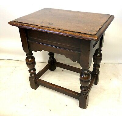 Antique Carved Oak Joint Stool / Occasional Table / Lamp Stand / Slipper Box