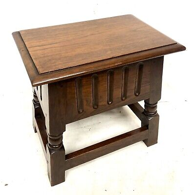 Antique Carved Oak Joint Stool Slipper Box / Occasional Table / Lamp Stand
