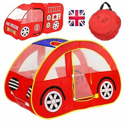 Kids Play Tent Pop Up Fire Truck Car Fun Foldable Playhouse Outdoor/Indoor Toy