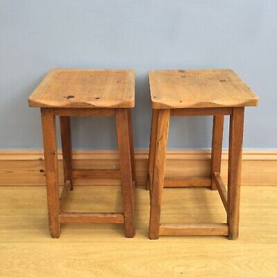 Vintage Wooden Stools Old School X 2 Rustic Science Lab Industrial Shaped Seats