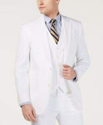 New Tommy Hilfiger Colby Modern Fit Stretch White Dual Vent Cotton Sport Coat