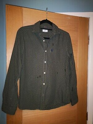 Next Men's/Boys Green Check Cotton Long Sleeved Shirt Size XS Regular Fit