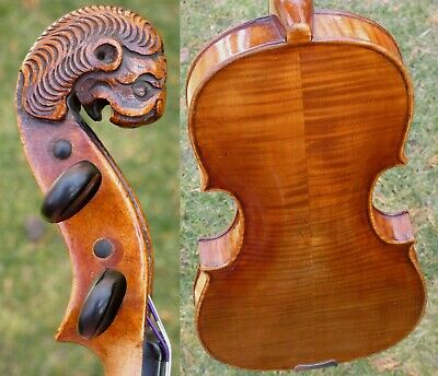 Fine 4/4 Antique LION HEAD German Violin: Karel Pilar 19th fiddle  小提琴  ヴァイオリン