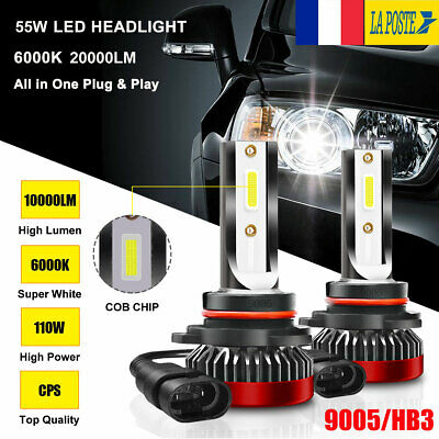 1 Paire 55W 9005 HB3 20000LM Voiture LED Phare Feux Lampe Kit 6000K Xenon Blanc