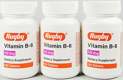Rugby Vitamin B-6 50 mg 100 Tablets -3 Pack -Expiration Date 08-2021