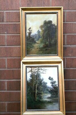 Pair 19Th.Century .Antique Oil Paintings Rual English Landscapes Signed Monogram