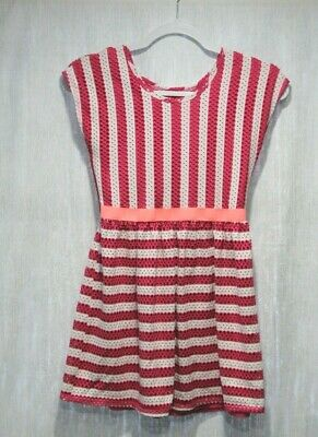 Girl's Youth Casual Pink stripe Dress Faded Glory size 10-12 Large