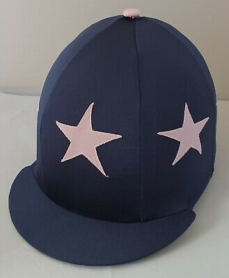 Riding Hat Cover - Navy & Pale Pink Stars & Button