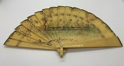 Antique French Celluloid Hand Painted Fan