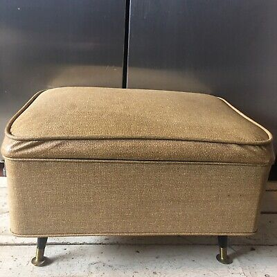 Vintage Retro Mid Century Modern Foot Stool Ottoman Opens Up For Storage Vinyl